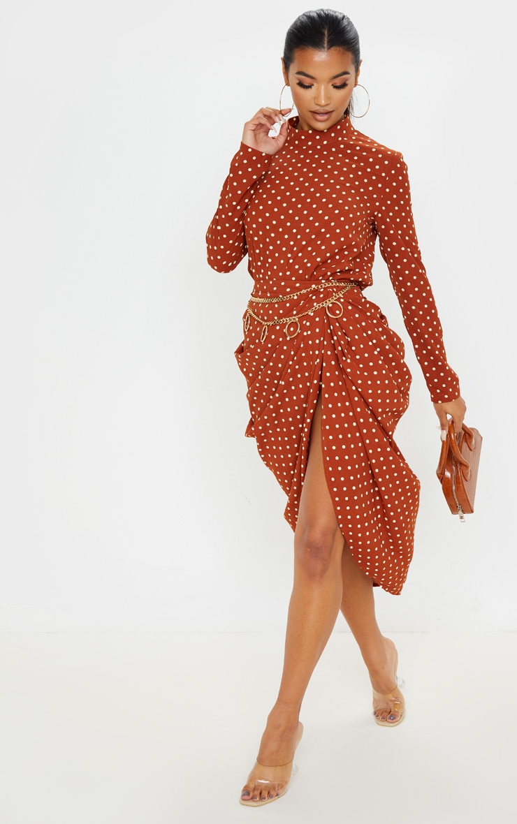 Terracotta Polka Dot High Neck Bodysuit 4