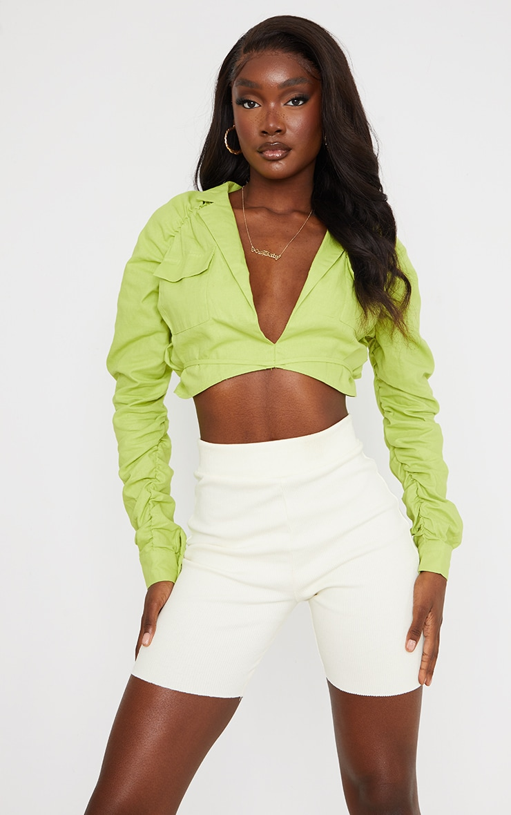 Tall Lime Ruched Sleeve Cropped Blouse 1