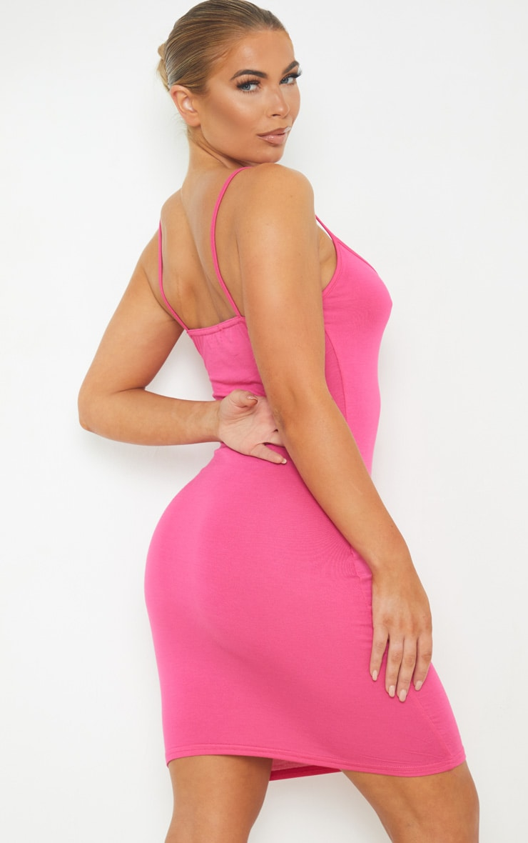 Hot Pink Extreme Plunge Strappy Bodycon Dress 2