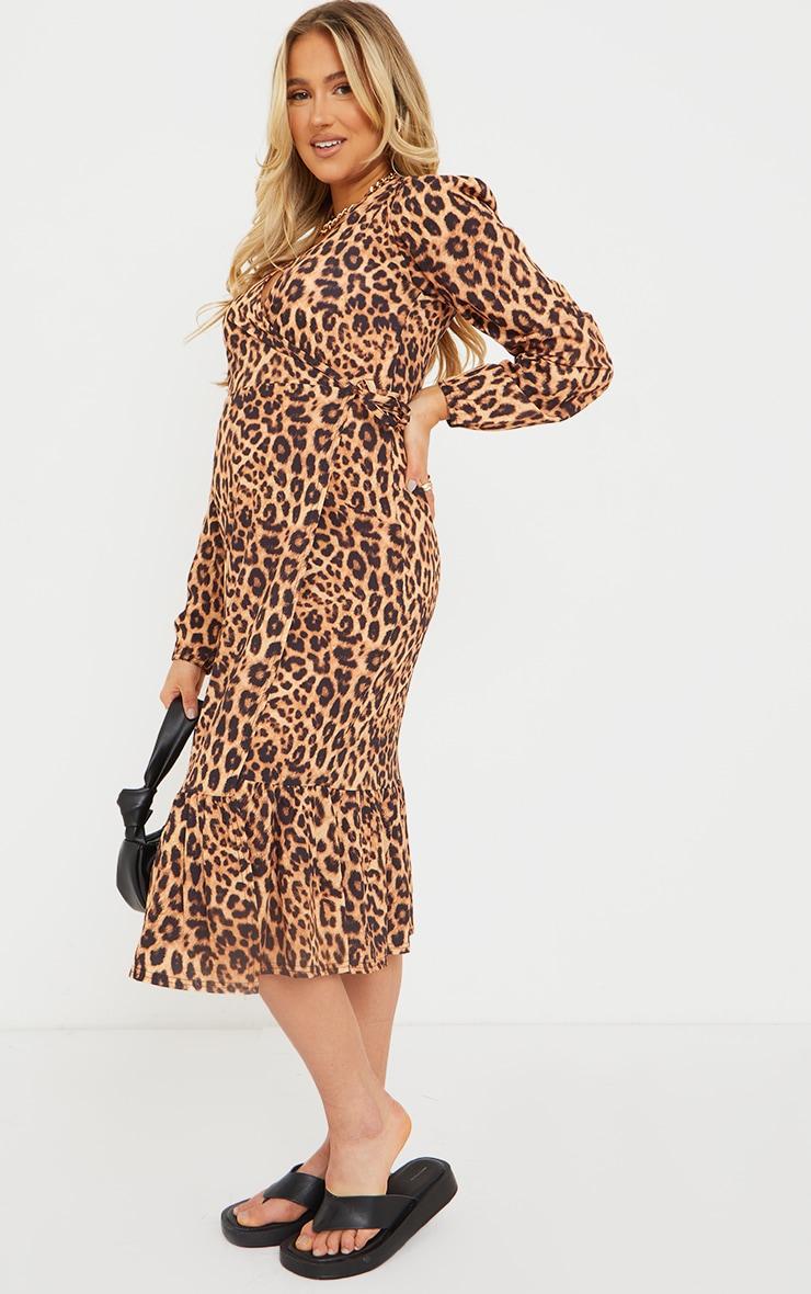 Maternity Brown Wrap Leopard Printed Midi Dress 3