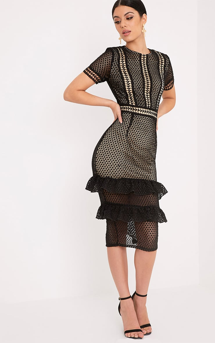 Anna Black Lace Frill Midi Dress 4