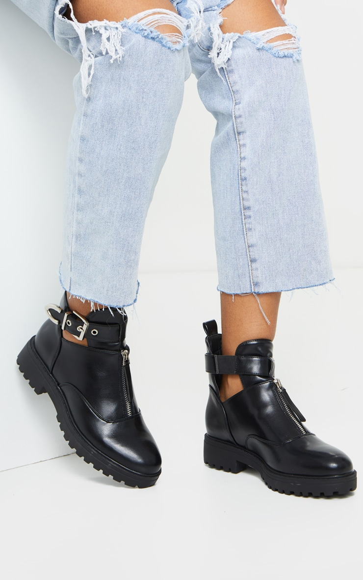 Black Zip Front Buckle Ankle Boot 1