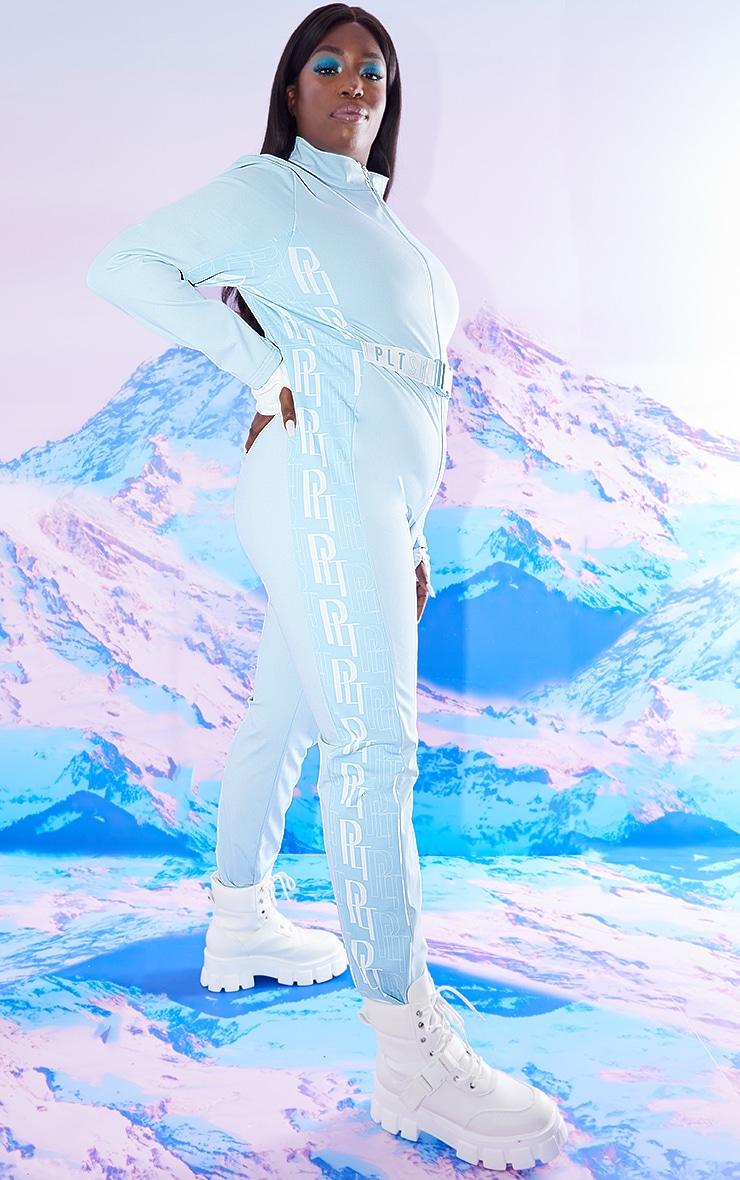PRETTYLITTLETHING Plus Ski Pastel Blue Print Ski Suit 3