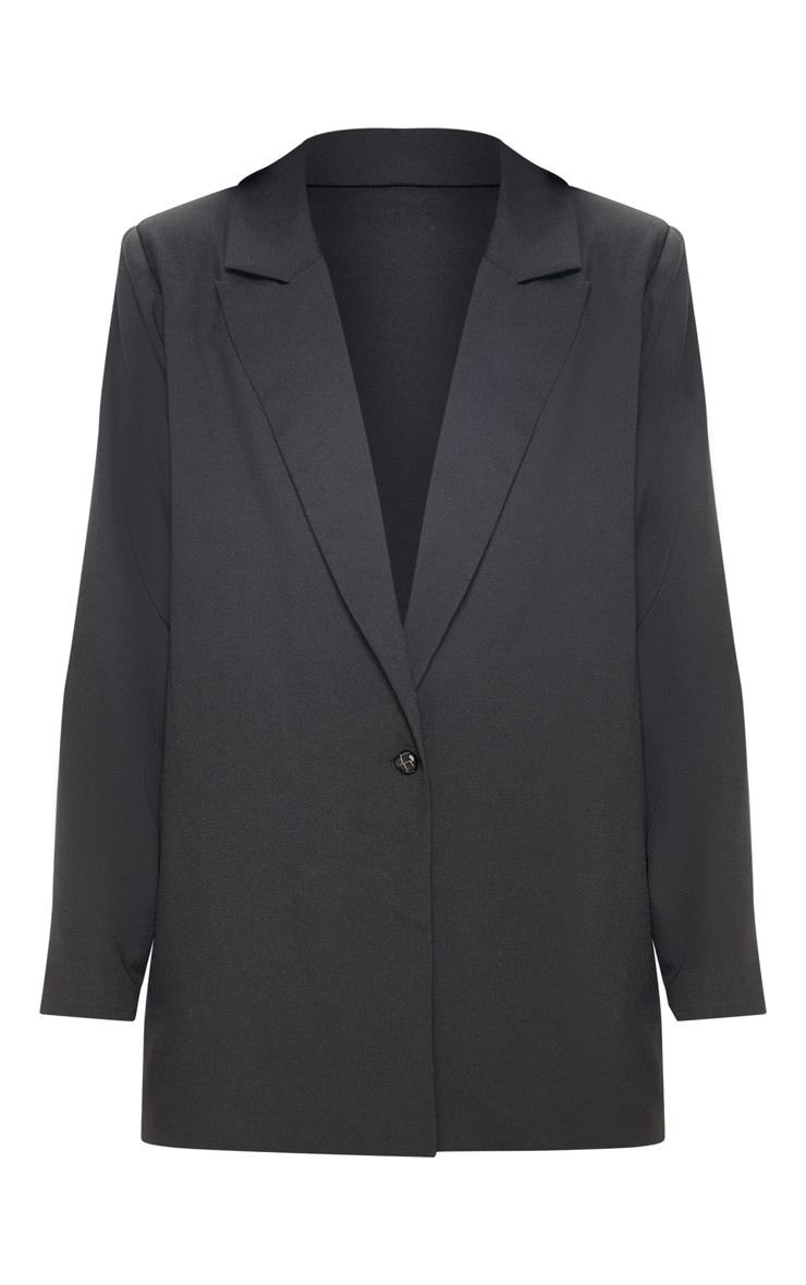 Black Oversized Light Weight Button Detail Blazer 5