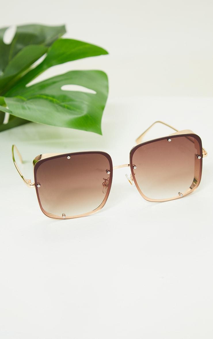 Gold Fade Oversized Square Lenses Frameless Sunglasses 3
