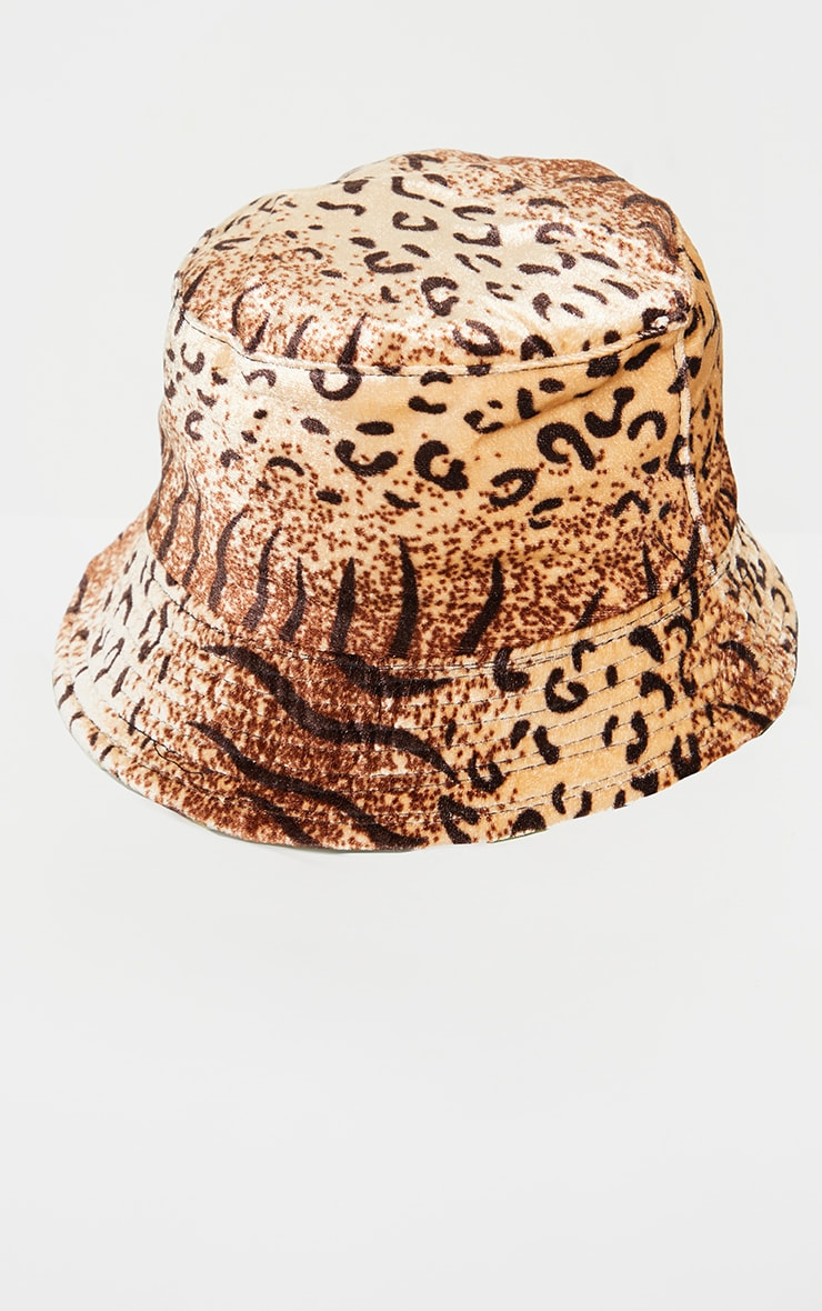 Brown Leopard Velvet Bucket Hat 2