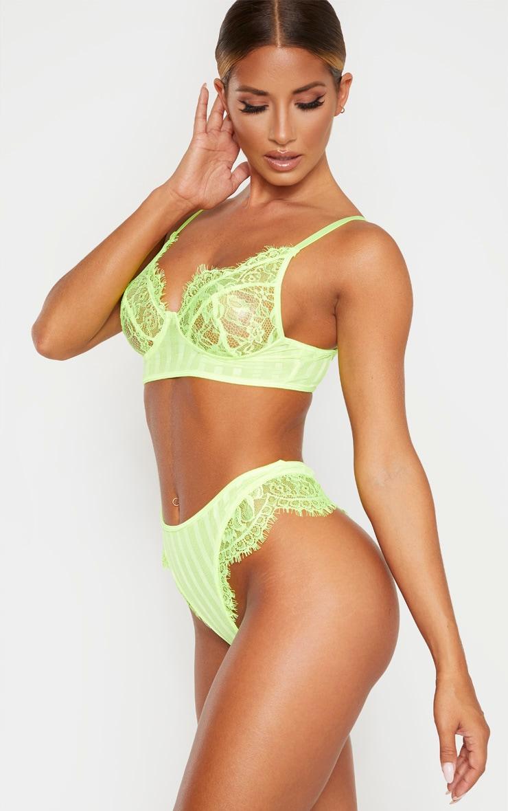 Neon Lime Striped Lace High Leg Thong  2
