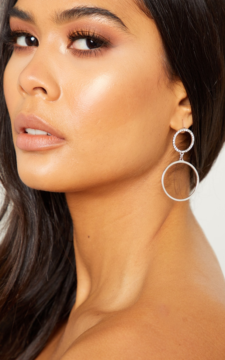 Silver Double Hoop Diamante Drop