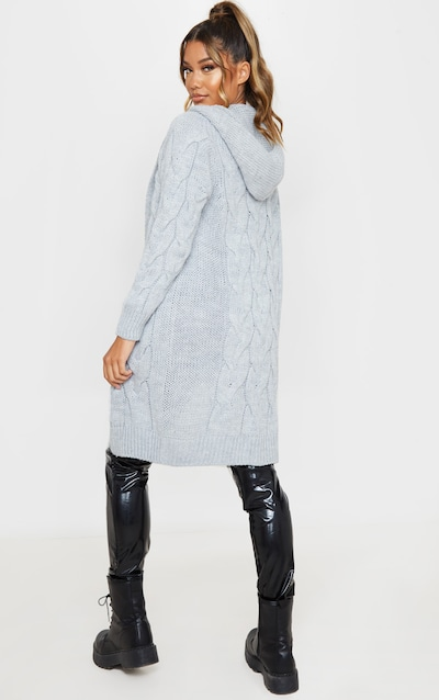 Light Grey Hooded Cable Knit Longline Cardigan