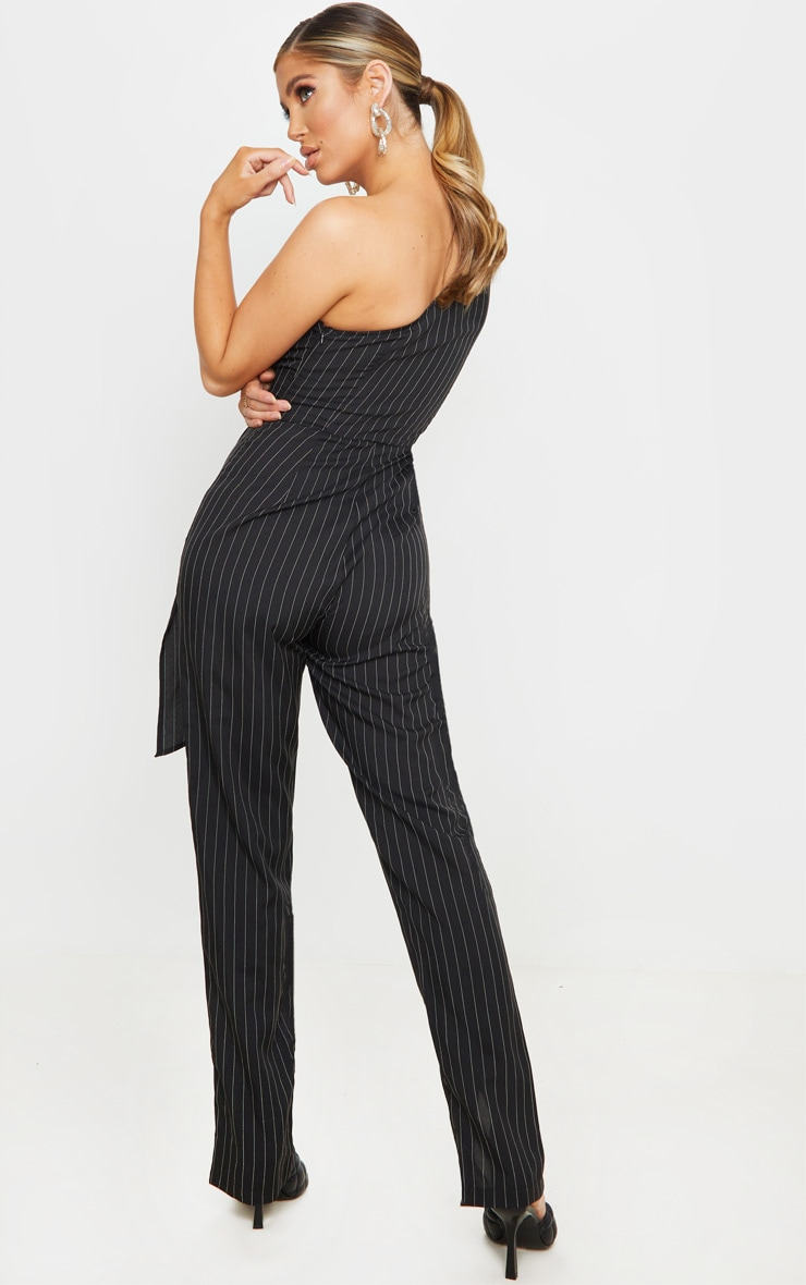 Black Pinstripe One Sleeve Tie Detail Jumpsuit 2