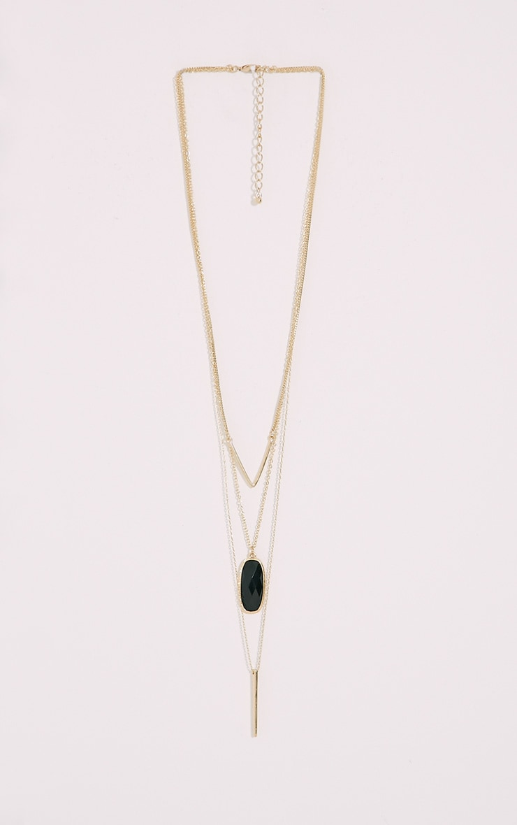 Prima Gold Chevron Stone Long Necklace 1