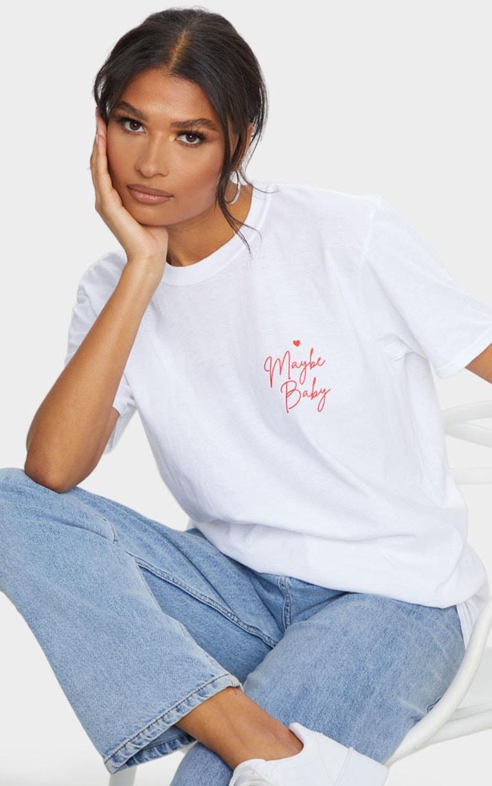 White Maybe Baby Printed T Shirt 1