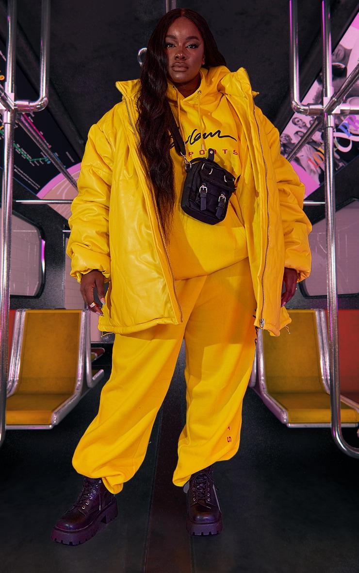 Plus Yellow Unisex PU Extreme Oversized Puffer Coat 3