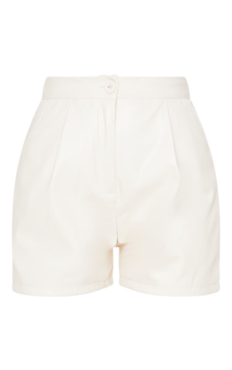 Cream Faux Leather Tailored Shorts 3