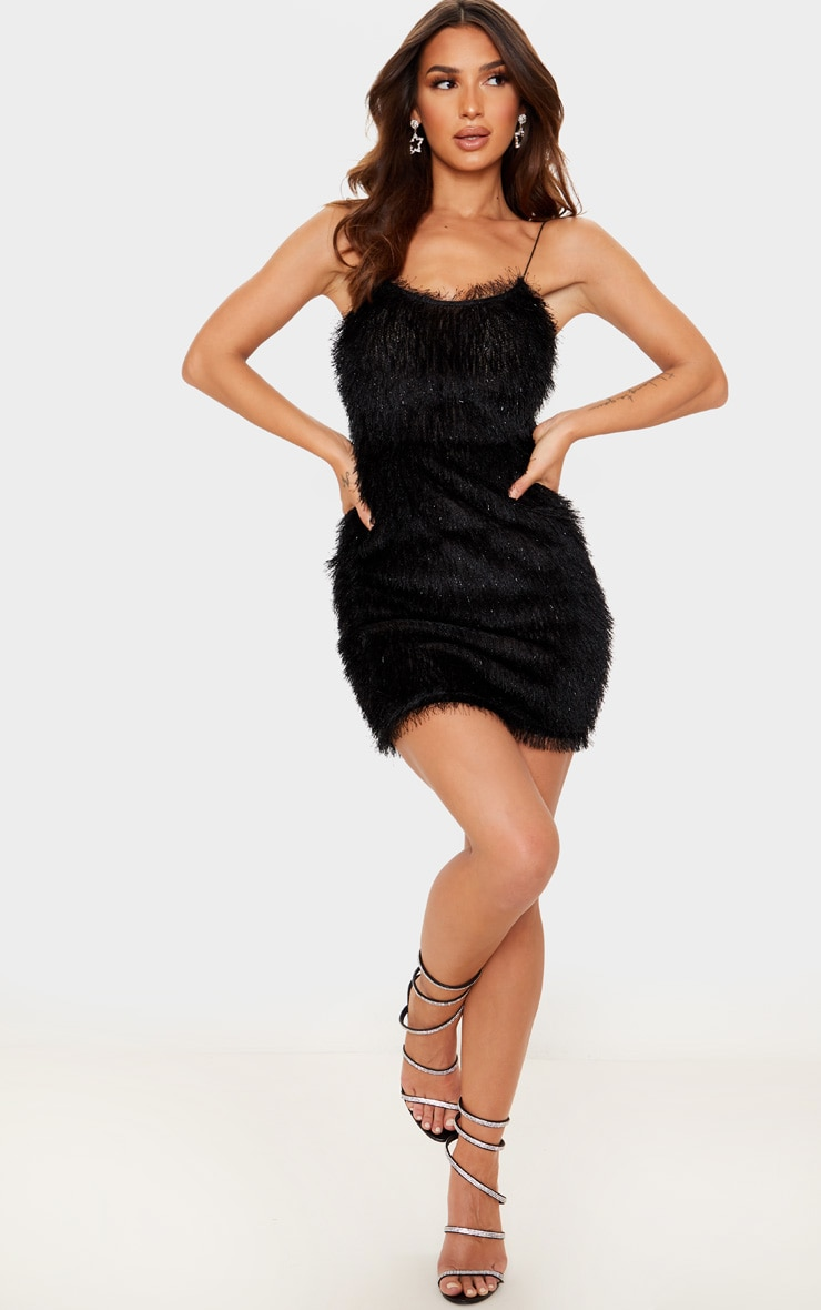Black Tiered Fringed Strappy Bodycon Dress 4