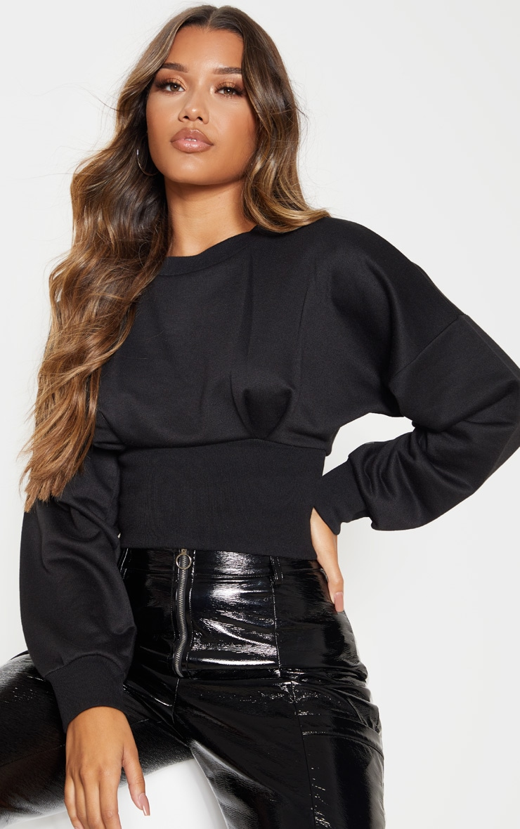Black Rib Extreme Hem Crop Sweater 1