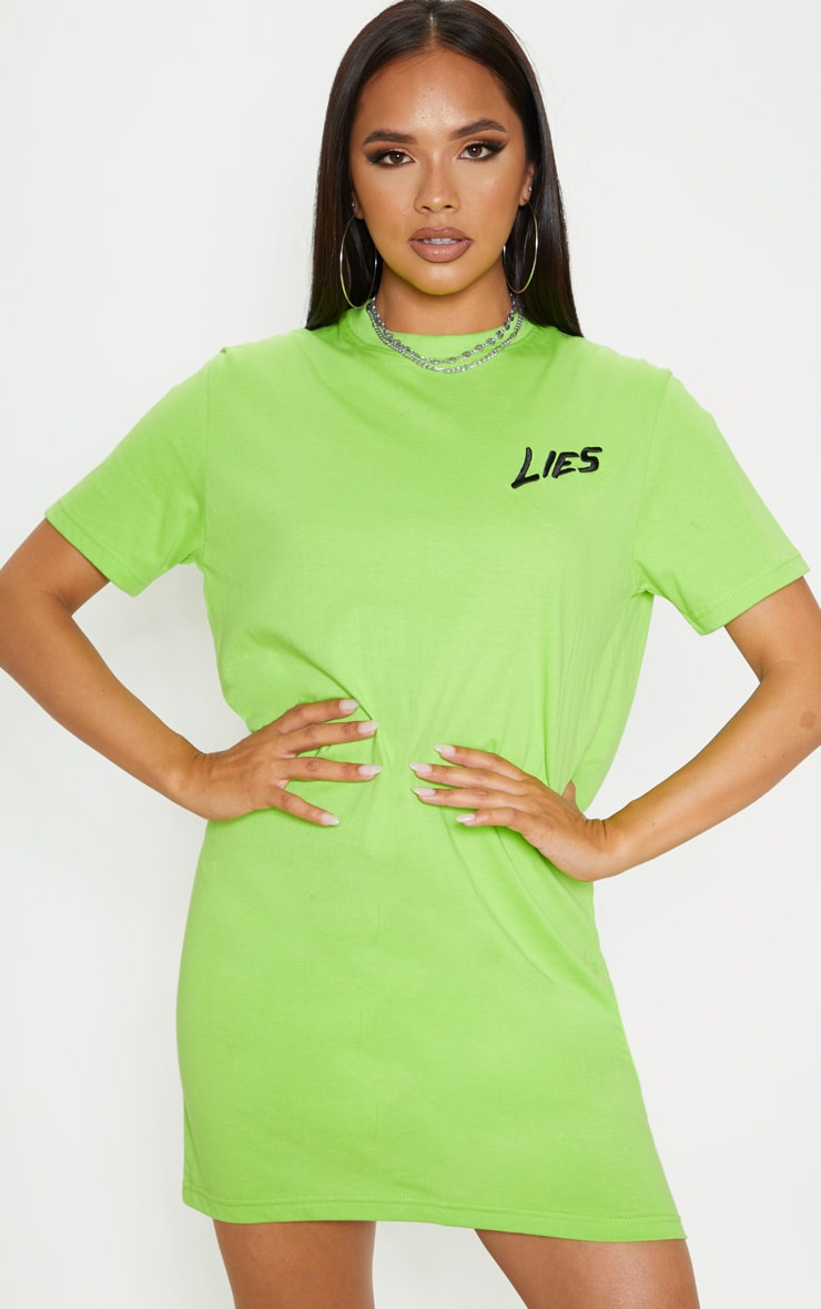 Neon Lime Lies Slogan Embroidered Oversized T Shirt Dress  4