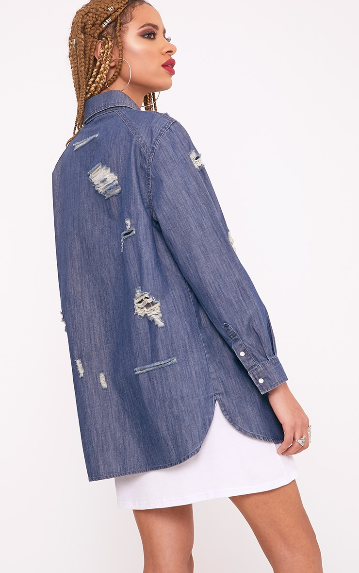 Miae Mid Wash Distressed Oversized Denim Shirt 2