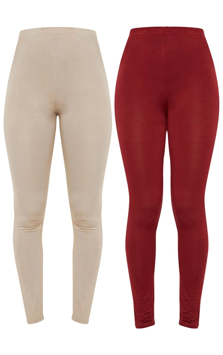Burgundy and Taupe Basic Jersey Legging 2 Pack 4