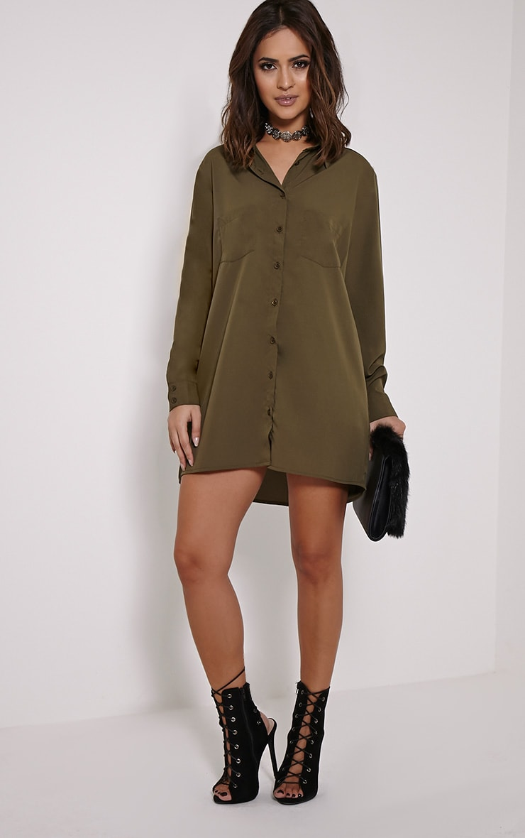 Effy Khaki Crepe Shirt Dress 3