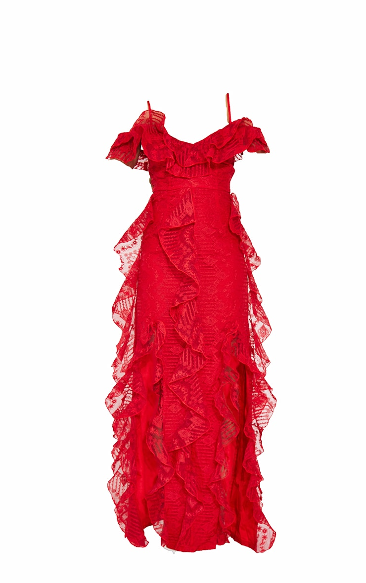 Red Lace Cold Shoulder Ruffle Maxi Dress 5