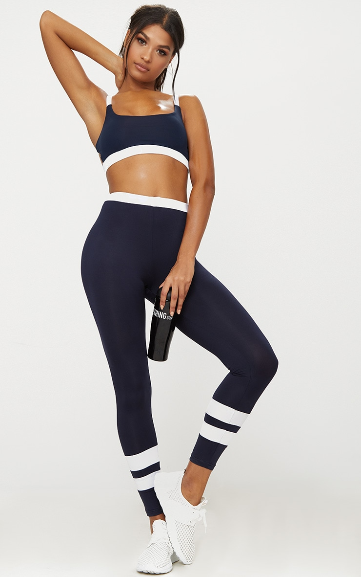 Navy Caged Back Contrast Sports Bra 4