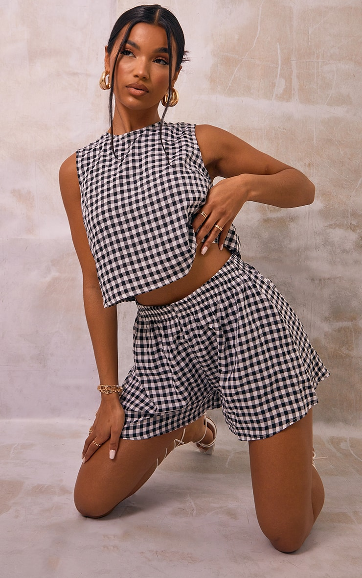 Black Gingham Printed Woven Floaty Shorts 1