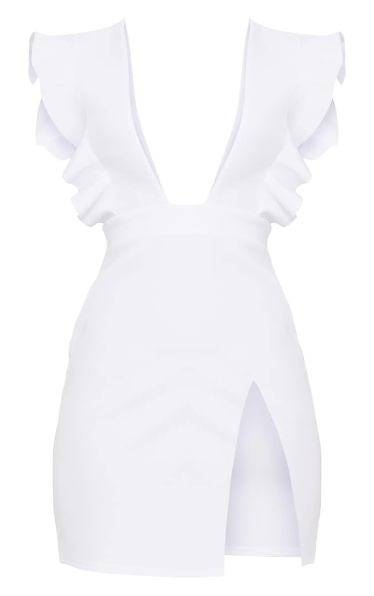 White Frill Plunge Split Leg Bodycon Dress 3