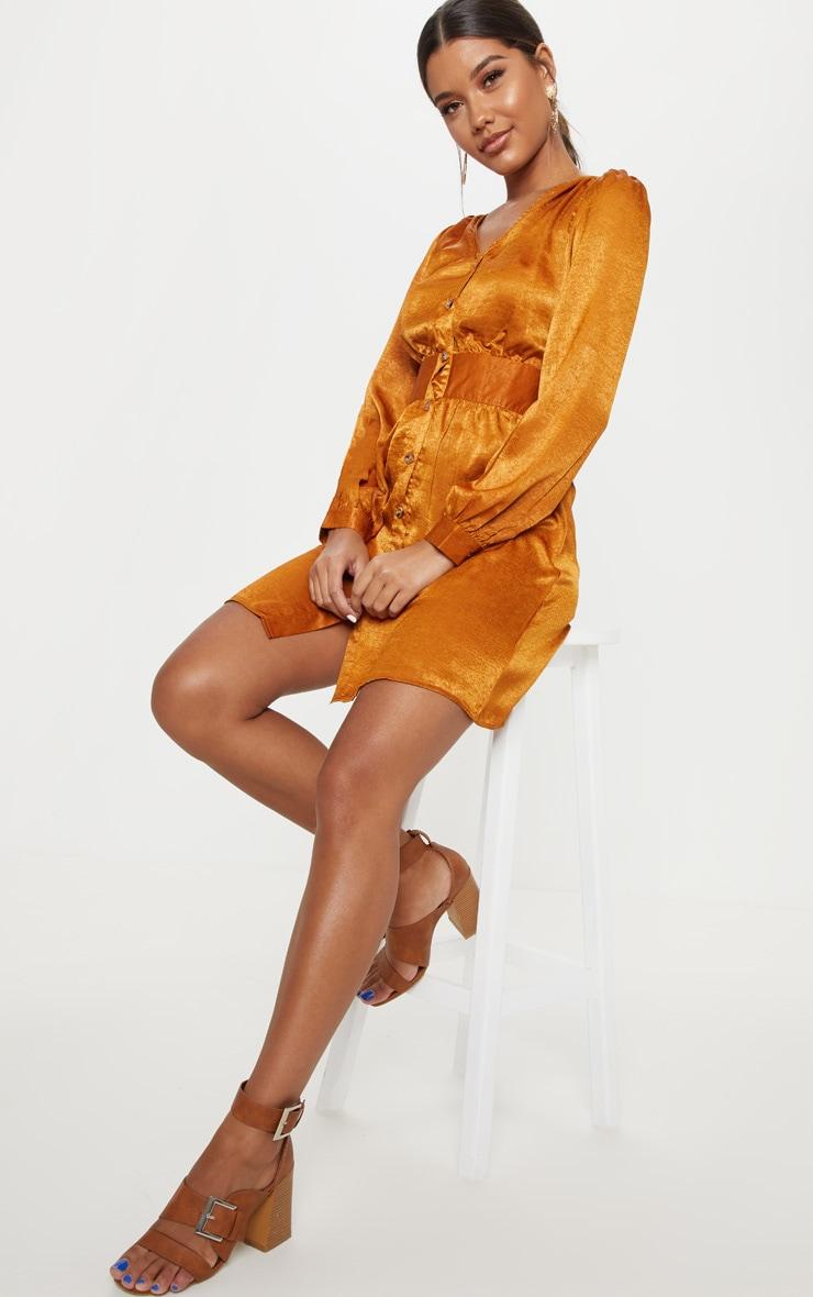 burnt orange satin button front tea dress