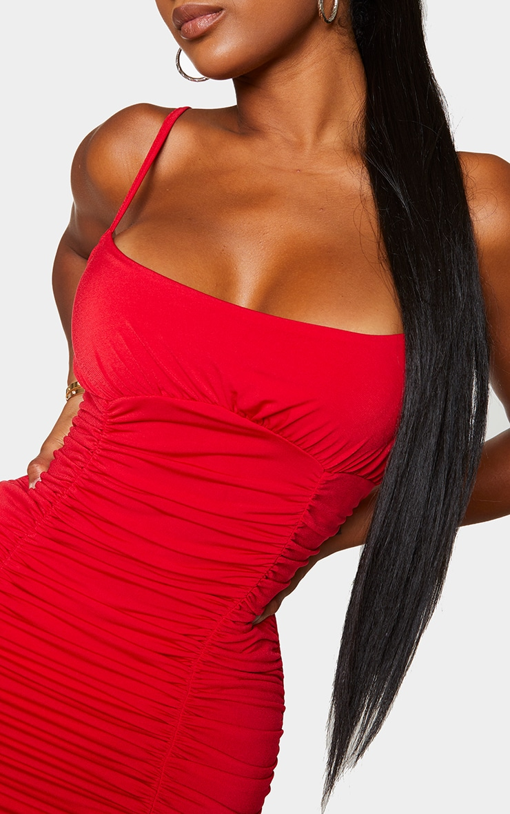 Shape Red Slinky Extreme Ruched Bodycon Dress 4