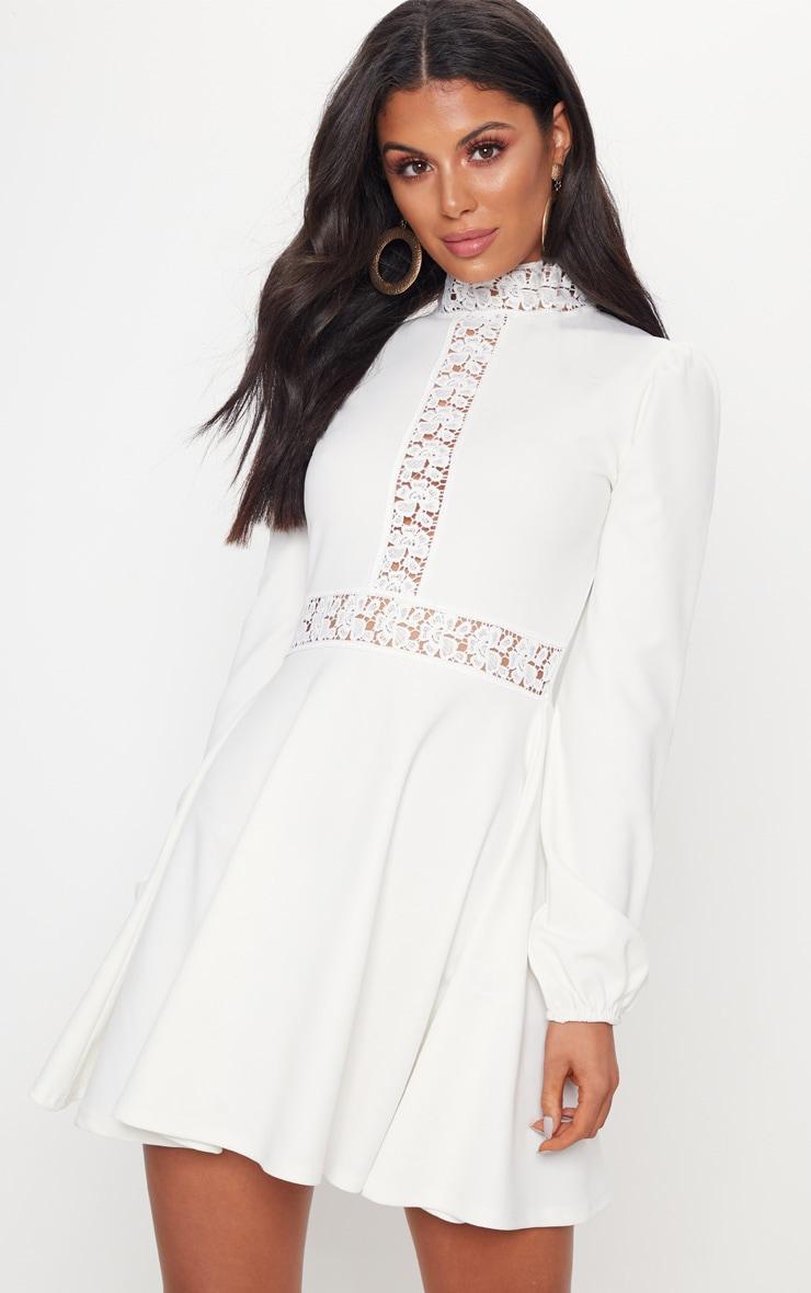 White Trim Detail Skater Dress 1