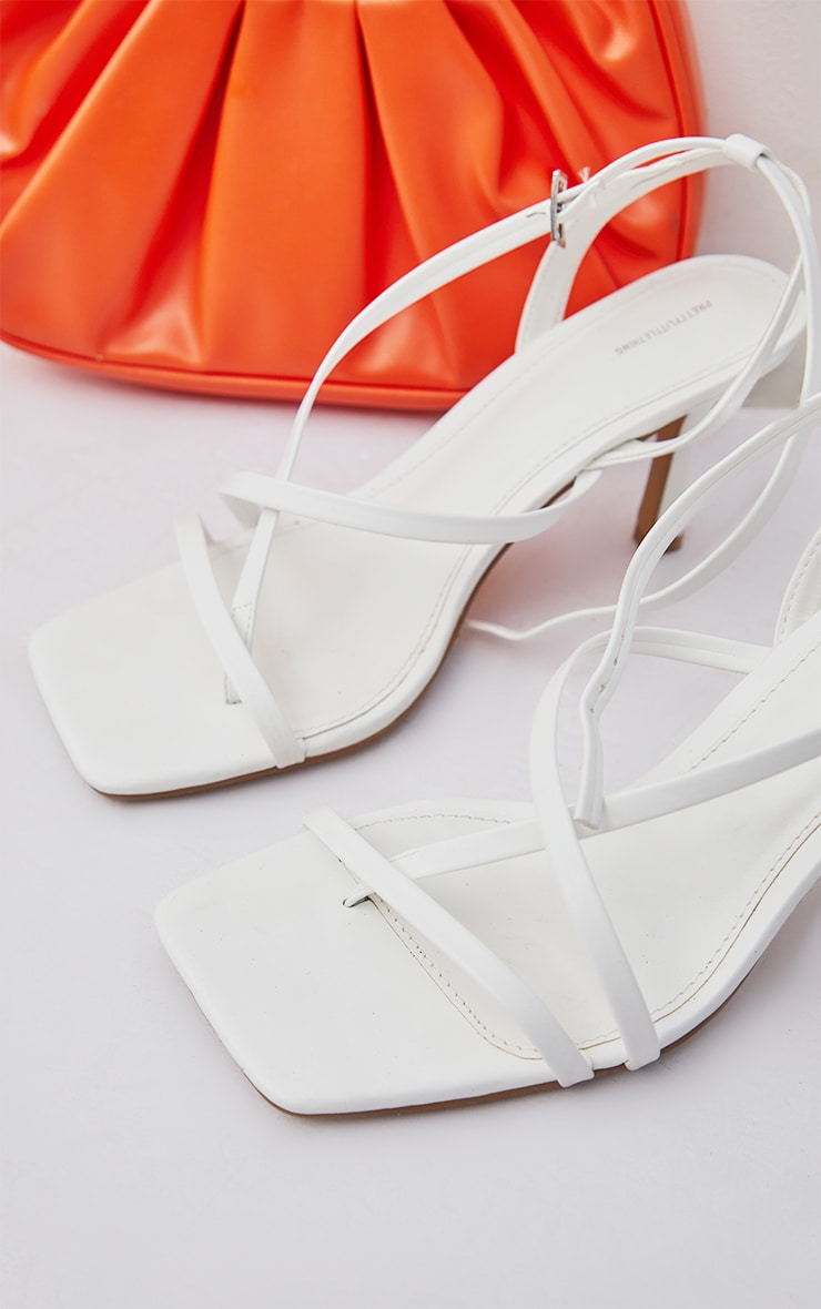 White Wide Fit PU  Multi Strap Low Heeled Sandals 3