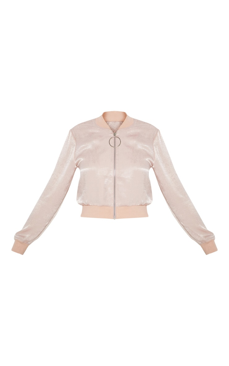 Nude  Ring Pull Satin Bomber Jacket  3