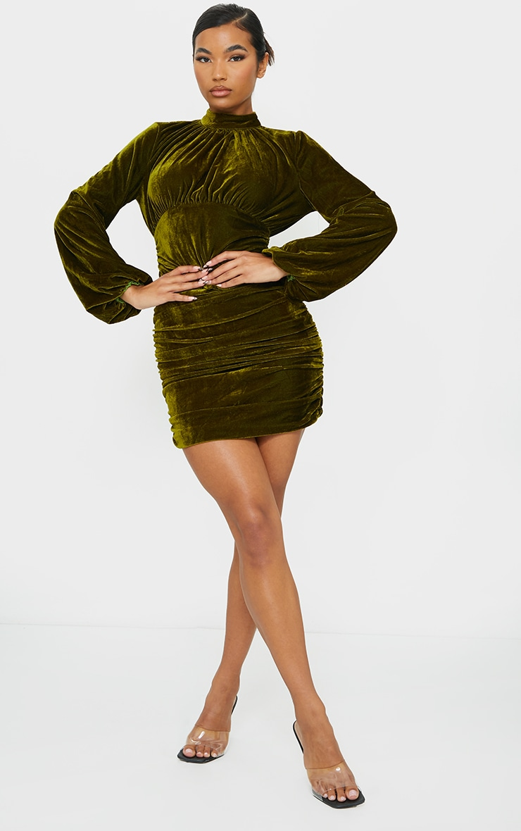 Olive Velvet High Neck Ruched Balloon Sleeve Bodycon Dress 3