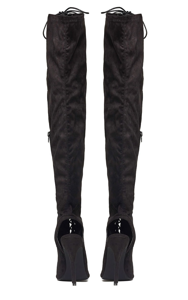 Valentina Black Suede Lace Up Thigh Boots 7