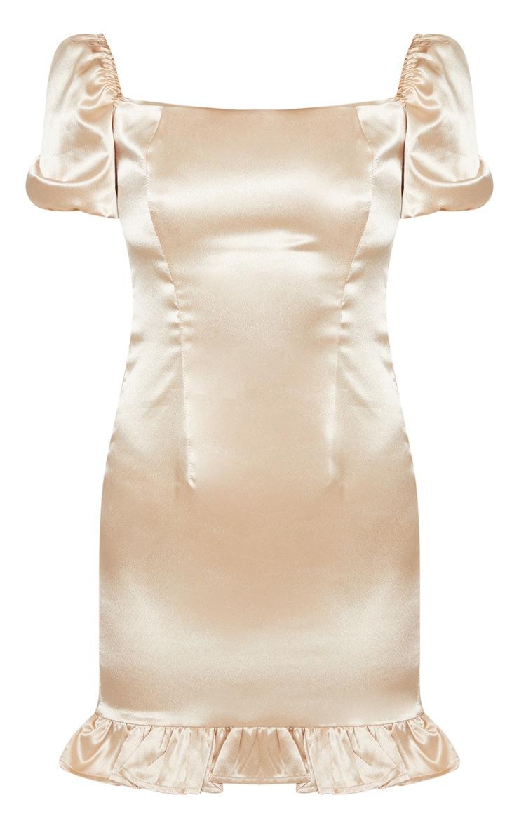 Champagne Satin Puff Sleeve Frill Hem Bodycon Dress 3