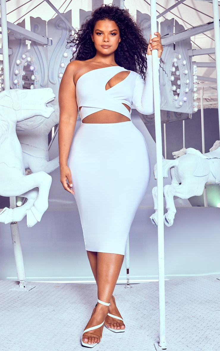 Plus White Cut Out One Shoulder Midi Dress