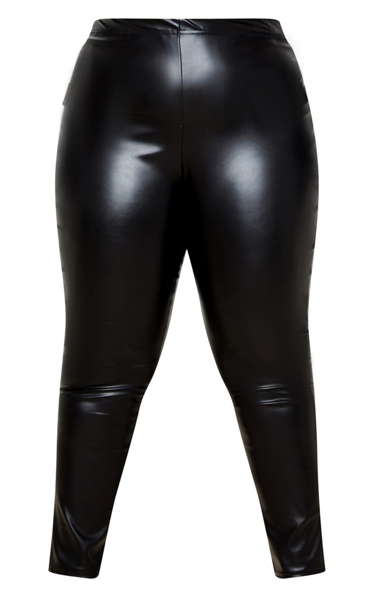 Plus Black PU Split Hem Pants 5