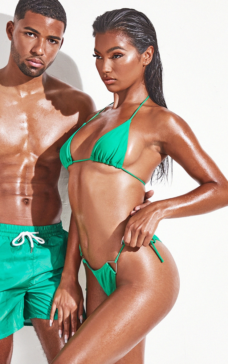 Green  Tie Side Bikini Bottoms 2