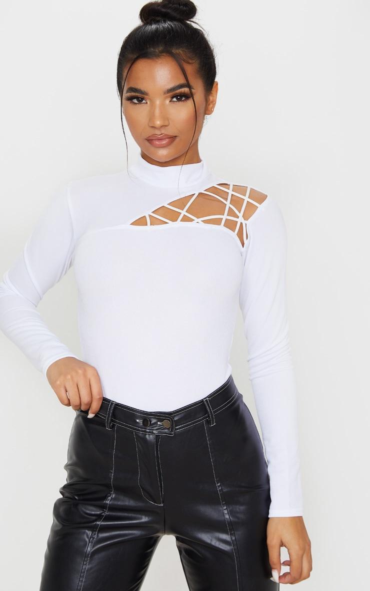 White Cut Out Detail Crepe Bodysuit 1