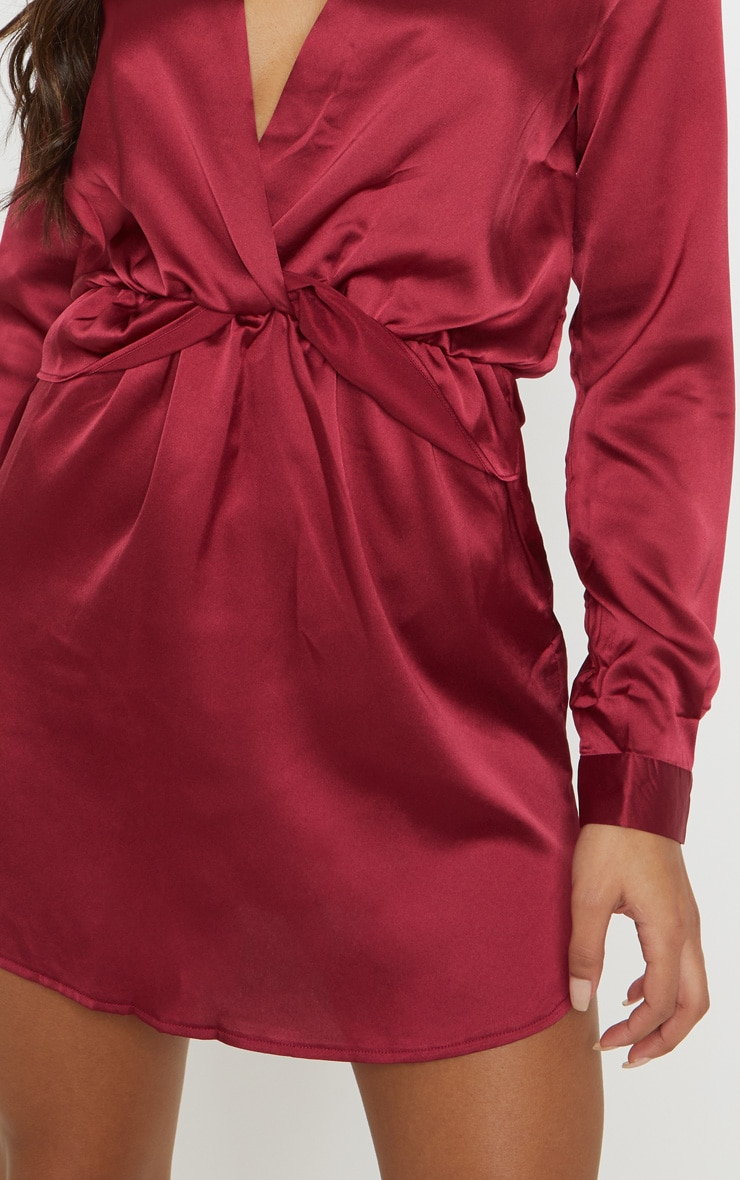 Katalea Burgundy Twist Front Silky Shirt Dress 6