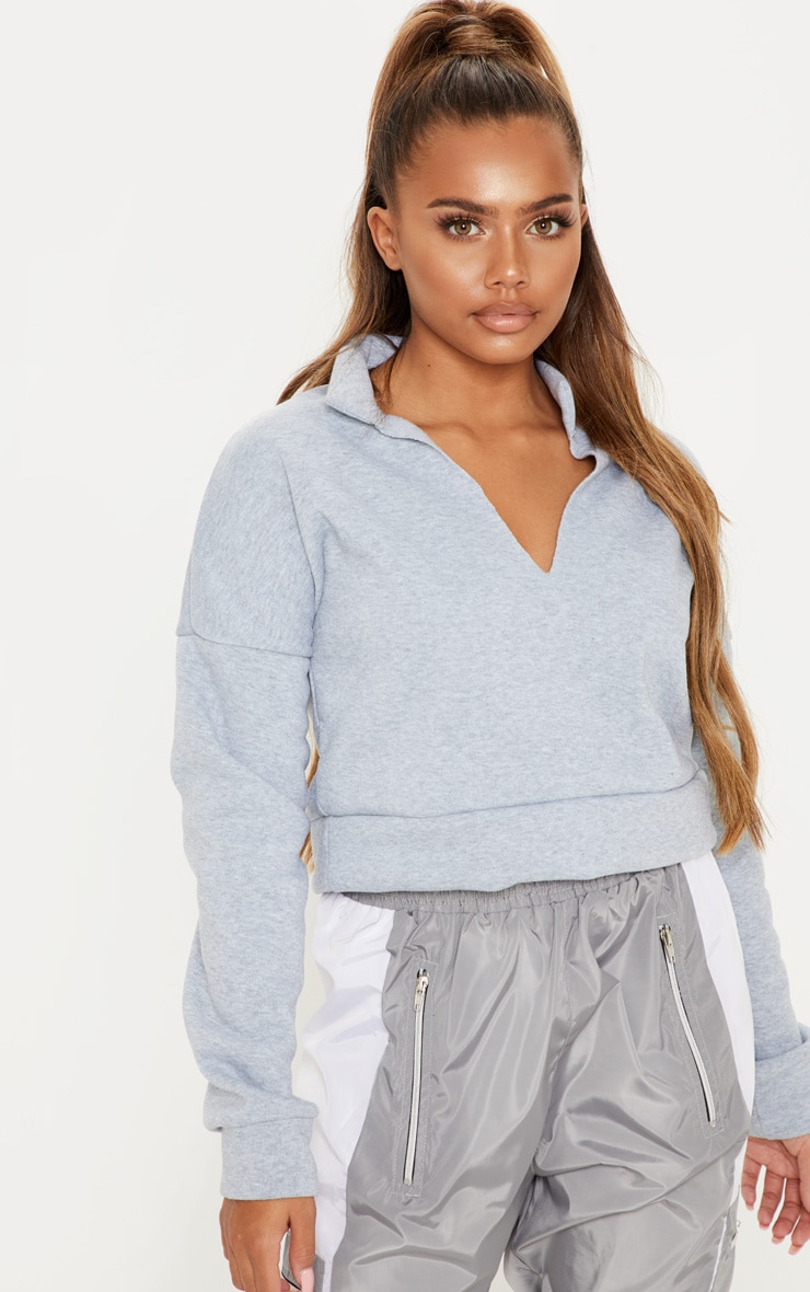 Grey Collar Detail Crop Sweater