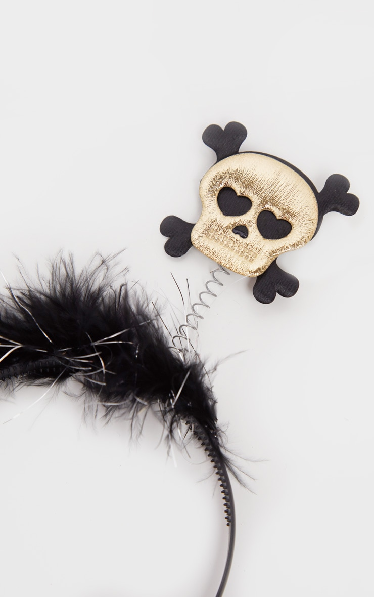 Black Skull On A Spring Headband 2
