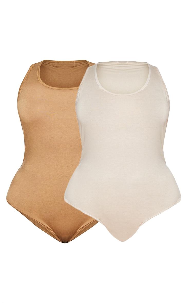 Plus Basic 2 Pack Camel & Stone Racer Back Bodysuit 5