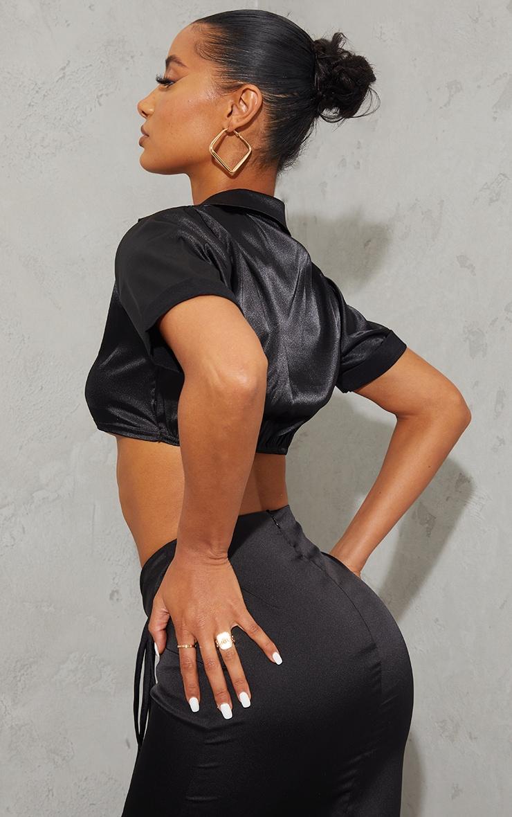 Black Satin Short Sleeve Twist Front Cropped Shirt 2