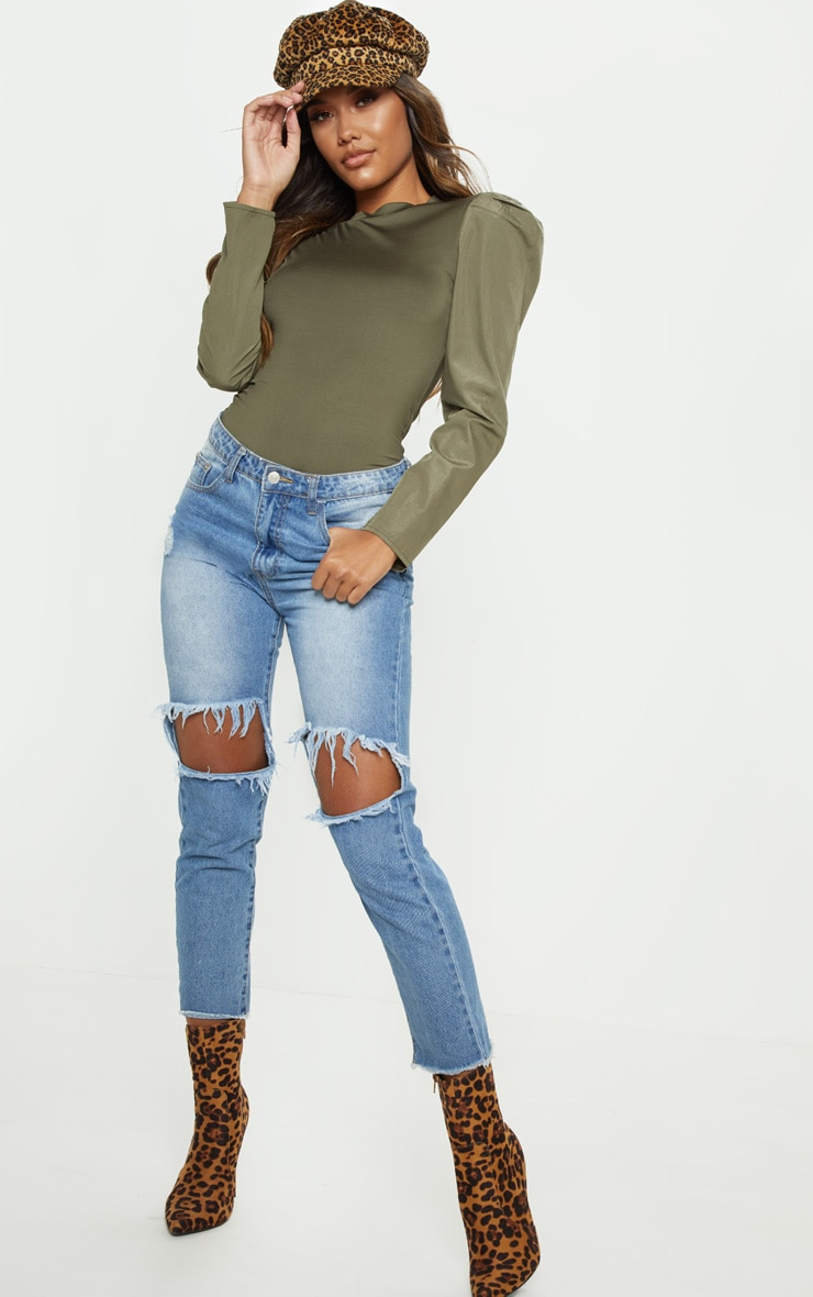 Khaki Long Sleeve Puff Shoulder Top 4