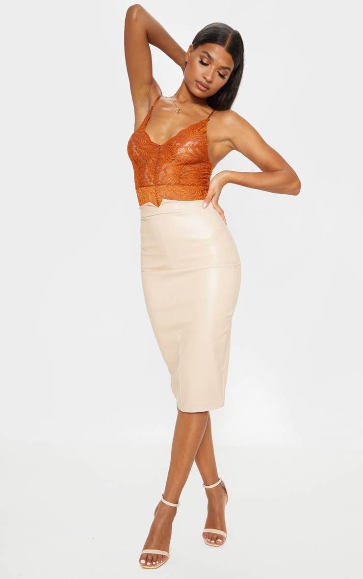 Eva Nude Faux Leather Panel Midi Skirt 1