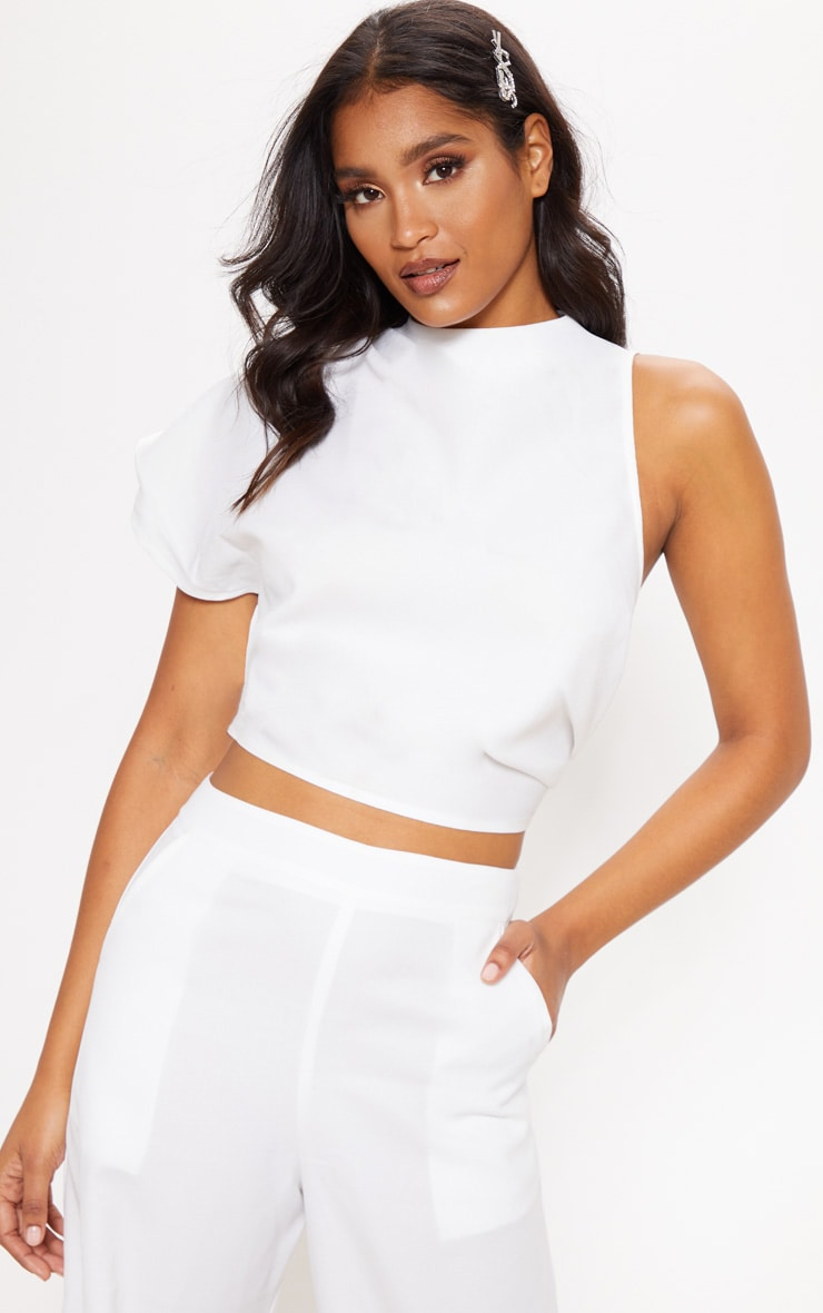 White High Neck One Shoulder Blouse 1