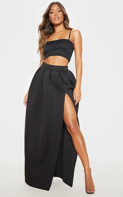 Black Scuba Maxi Skirt