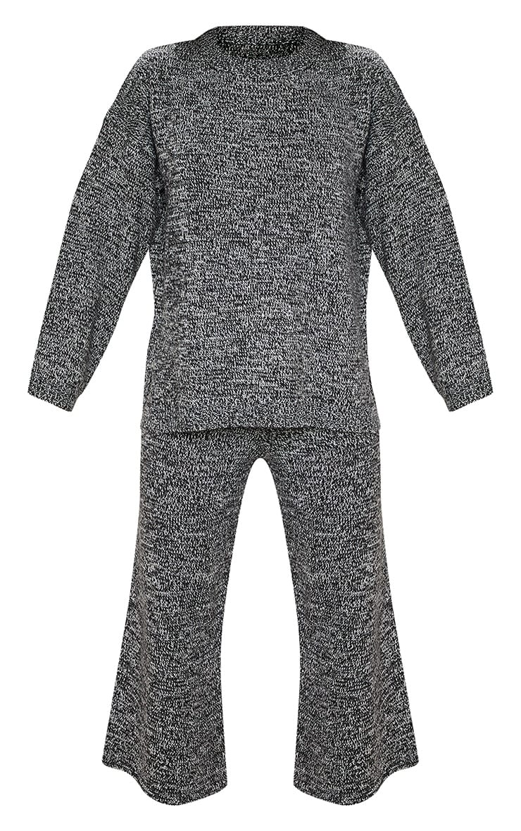Grey Knitted Cropped Length Co-ord 3
